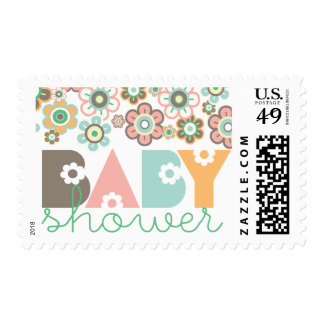 Pastels Daisies Flowers Blooms Baby Shower Stamps