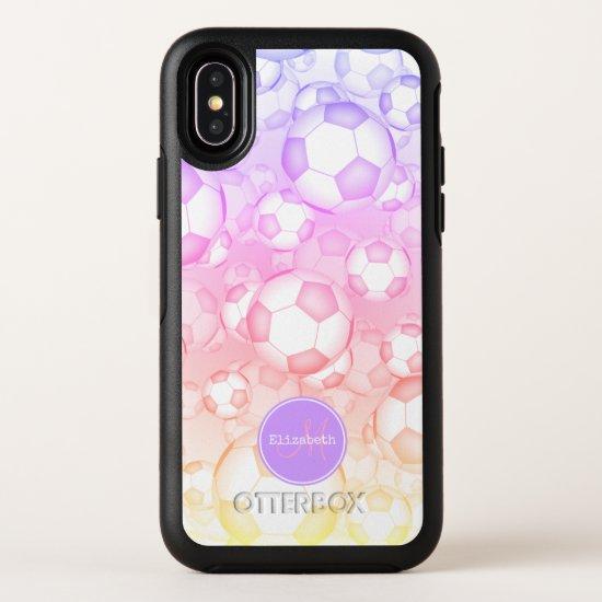 pastels rainbow girly Ipanema filter soccer balls OtterBox Symmetry iPhone X Case