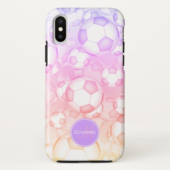 pastels rainbow girly soccer balls Ipanema filter iPhone X Case