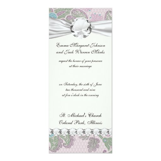 """pastels spring floral damask 4"""" x 9.25"""" invitation card"""