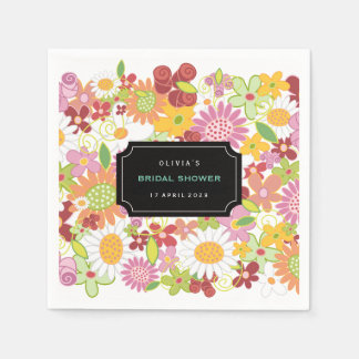Pastels Spring Flowers Garden Bridal Shower Party Paper Napkin
