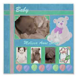 Pastels Teddy Bear Scrap Book Page Poster
