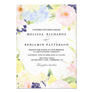 Paster Spring Flowers Wedding Invitation