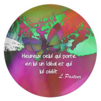 Pasteur's quote.about hapiness dinner plate
