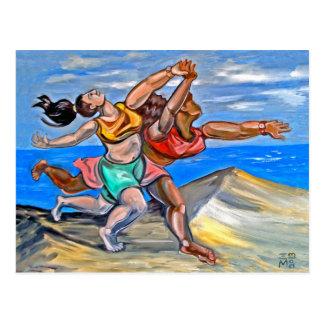 Pastiche of Women Running on Beach Postcard