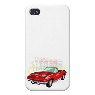 Pastinaca del Corvette o coche de deportes roja de iPhone 4 Cárcasa