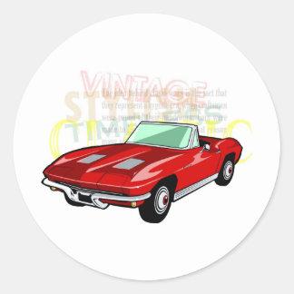 Pastinaca del Corvette o coche de deportes roja Pegatina Redonda