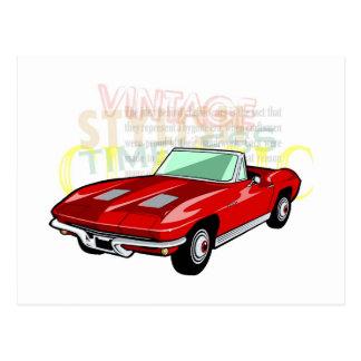 Pastinaca del Corvette o coche de deportes roja Postal