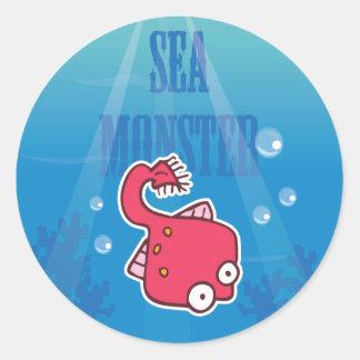 Pastinaca del monstruo de mar pegatina redonda