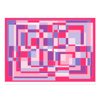 Pastle pinks and purple square design. postcard