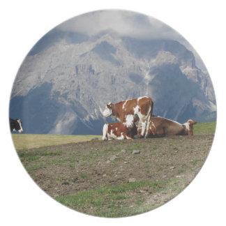 Pasto alpino con las vacas plato de comida