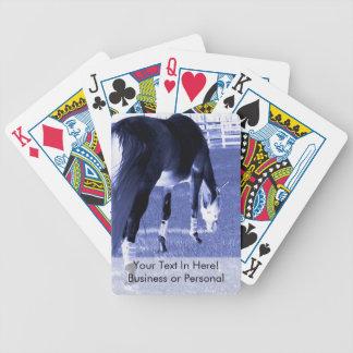 pasto azul del caballo en imagen equina barajas de cartas