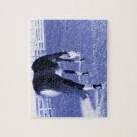 pasto azul del caballo en imagen equina puzzle con fotos