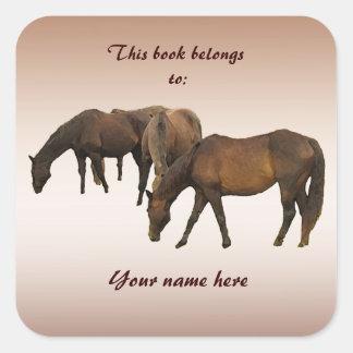 Pasto de Bookplate de los caballos Pegatina Cuadrada