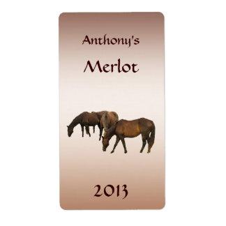 Pasto de la etiqueta del vino de los caballos etiqueta de envío