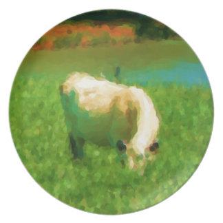 Pasto de la placa de la vaca plato para fiesta