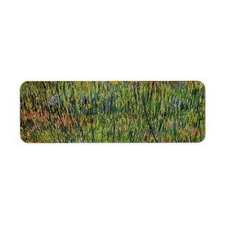 Pasto de Van Gogh en la floración, bella arte de Etiqueta De Remitente