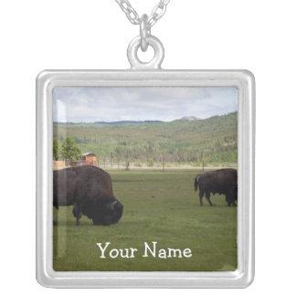 Pasto del bisonte de madera; Personalizable Colgante Cuadrado