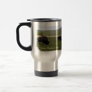 Pasto del bisonte de madera; Personalizable Tazas De Café
