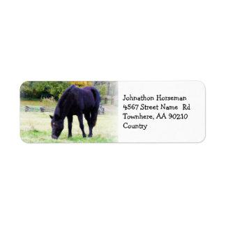 Pasto del caballo etiqueta de remite
