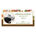 pasto del follaje de otoño de la invitación de la  tarjetas fotograficas personalizadas