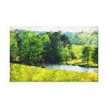 Pasto y lago impresiones de lienzo