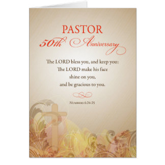 Pastor 50th Ordination Anniversary, Blessing Card