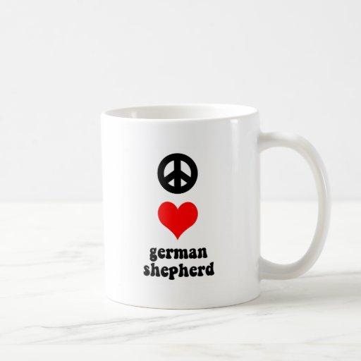 Pastor alemán del amor de la paz tazas de café
