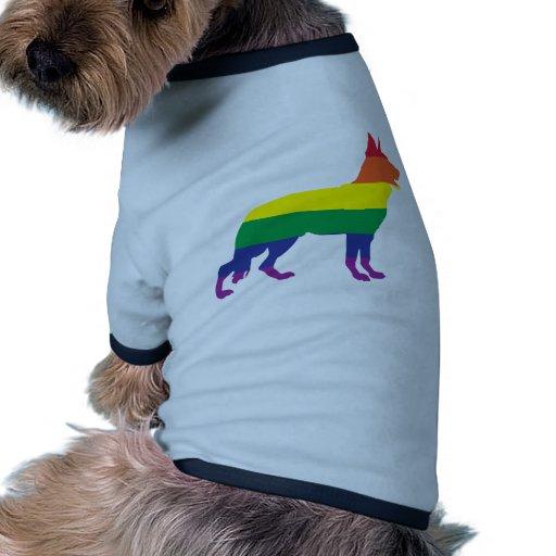 Pastor alemán del arco iris del orgullo gay prenda mascota