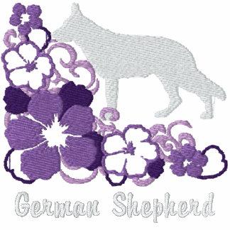 Pastor alemán del hibisco púrpura sudadera bordada con serigrafia