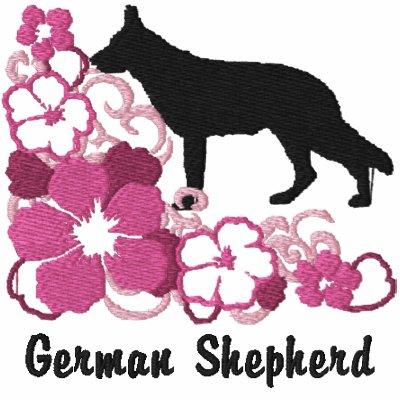 Pastor alemán del hibisco rosado sudadera con capucha bordada