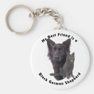 Pastor alemán negro del mejor amigo llavero redondo tipo pin