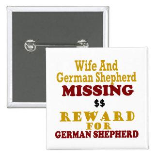 Pastor alemán y recompensa que falta de la esposa pin