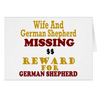 Pastor alemán y recompensa que falta de la esposa tarjetas