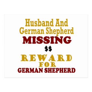 Pastor alemán y recompensa que falta del marido po postal