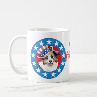 Pastor americano miniatura patriótico taza