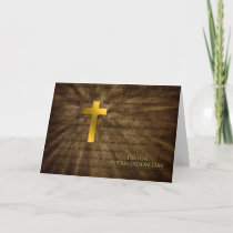 Pastor Appreciation Day - Christian Gold Cross - Thank You Card