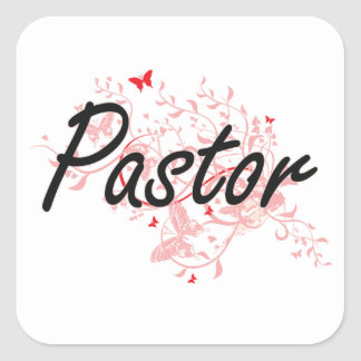 Pastor Artistic Job Design with Butterflies Square Sticker
