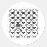 Pastor australiano en las ovejas etiqueta redonda