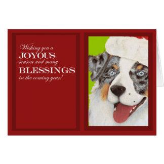 Pastor australiano en tarjeta de Navidad del gorra
