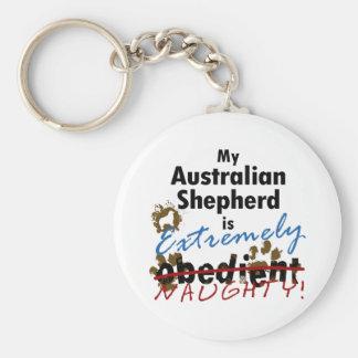 Pastor australiano extremadamente travieso llavero redondo tipo pin