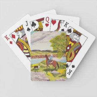 """Pastor australiano """"fuera"""" de la pintura del oeste cartas de póquer"""