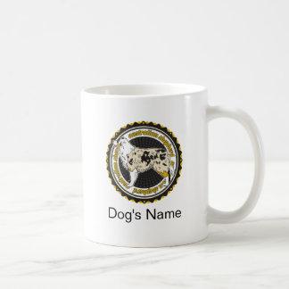 Pastor australiano personalizado del perro con taza de café