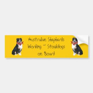 Pastor australiano que trabaja Stockdogs a bordo Pegatina Para Auto