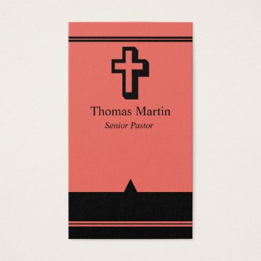 Professional Business Pastor Business Cards with Cross Coral Black