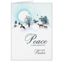 Pastor, Christmas scene with reindeer Card
