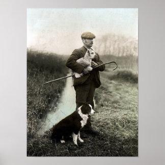 Pastor con el cordero y la frontera Collie Poster