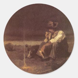 Pastor de los llanos por NC Wyeth, vaqueros Etiquetas Redondas