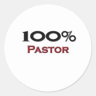 Pastor del 100 por ciento pegatina redonda