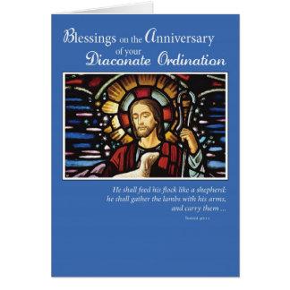 Pastor del aniversario de la ordenación del diacon tarjetón